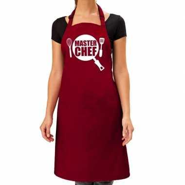 Master chef barbeque schort / keukenschort bordeaux rood dames