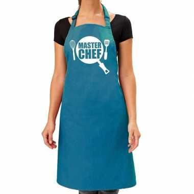 Master chef barbeque schort / keukenschort turquoise blauw dames
