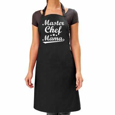 Master chef mama cadeau bbq/keuken schort zwart dames