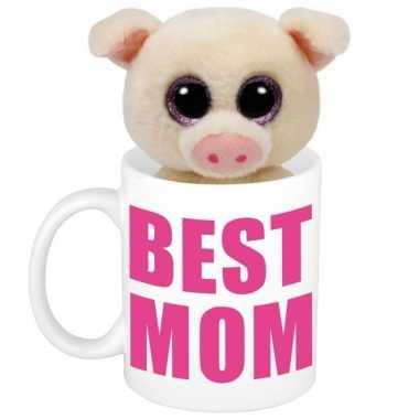 Moederdag best mom mok met knuffel biggetje / varkentje