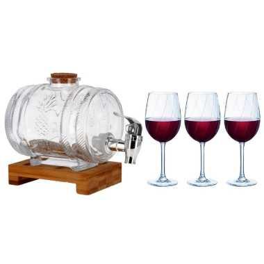 Moederdag cadeau glazen wijn dispenser met 6x wijnglazen 360 ml