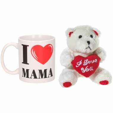 Moederdag cadeau i love mama beker / mok 300 ml met beige knuffelbeertje met love hartje