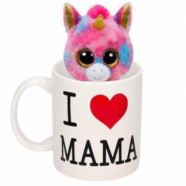 Moederdag i love mama mok met knuffel eenhoorn