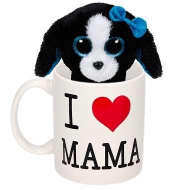 Moederdag i love mama mok met knuffel puppy / hond