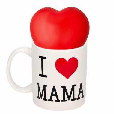 Moederdag i love mama mok met stressbal hartje