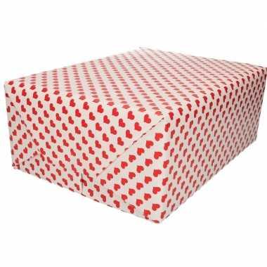 Moederdag inpakpapier/cadeaupapier rood hart print 200 x 70 cm