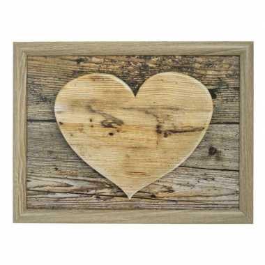 Moederdag ontbijt op bed schootkussen/laptray hart houtprint 43 x 33 cm