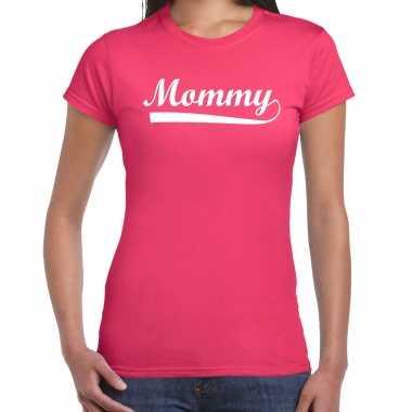 Mommy t-shirt fuchsia roze voor dames - moederdag cadeau shirt mama