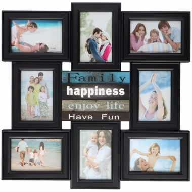 Multi zwarte fotolijst enjoy life 52 x 52 cm