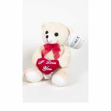 Pluche beertjes /beren knuffel beige 18 cm met een i love you hartje