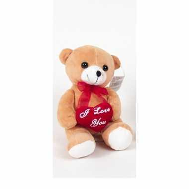 Pluche beertjes /beren knuffel bruin 18 cm met een i love you hartje