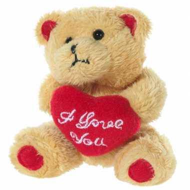 Pluche beertjes knuffel van 10 cm met een i love you hartje
