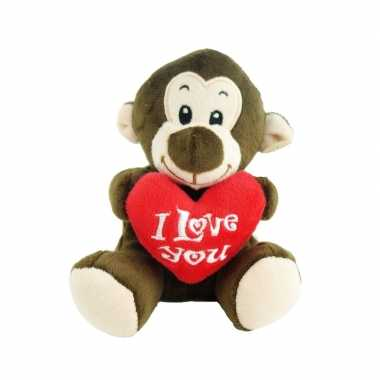 Pluche i love you aap knuffel bruin 14 cm speelgoed