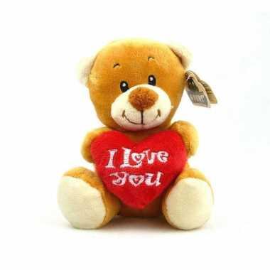Pluche i love you bruine beer knuffel 14 cm speelgoed