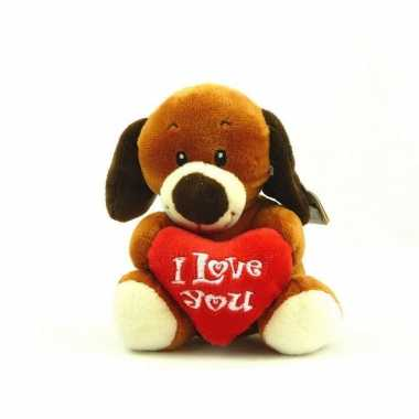 Pluche i love you hond knuffel bruin 14 cm speelgoed