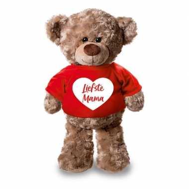 Pluche knuffel teddybeer 24 cm met liefste mama hartje t-shirt