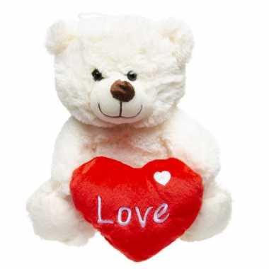 Pluche love witte beer knuffel 23 cm speelgoed