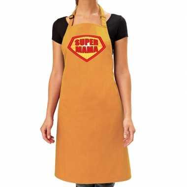 Super mama barbeque schort / keukenschort oker geel dames