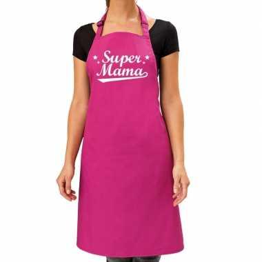 Super mama cadeau bbq/keuken schort roze dames
