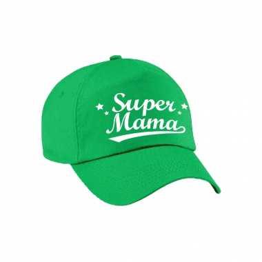 Super mama moederdag cadeau pet /cap groen voor dames