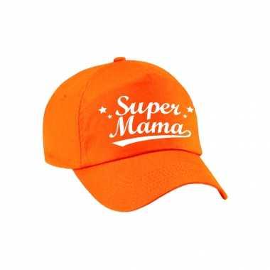 Super mama moederdag cadeau pet /cap oranje voor dames