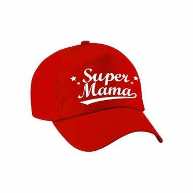 Super mama moederdag cadeau pet /cap rood voor dames