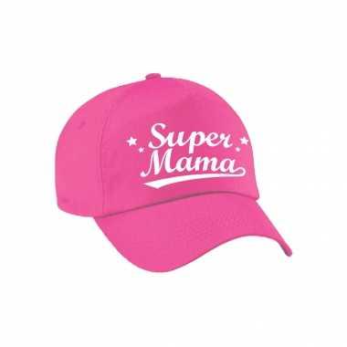 Super mama moederdag cadeau pet /cap roze voor dames