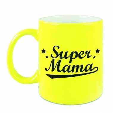 Super mama mok / beker neon geel voor moederdag/ verjaardag 330 ml