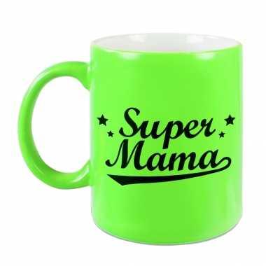 Super mama mok / beker neon groen voor moederdag/ verjaardag 330 ml