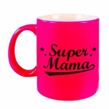 Super mama mok / beker neon roze voor moederdag/ verjaardag 330 ml