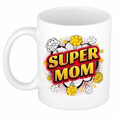 Super mom cadeau mok / beker wit pop-art stijl 300 ml