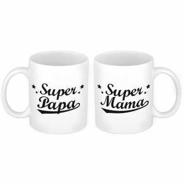 Super papa en mama mok - cadeau beker set voor papa en mama