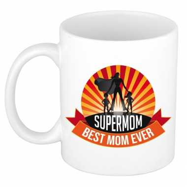 Supermom, best mom ever moederdag cadeau mok / beker wit
