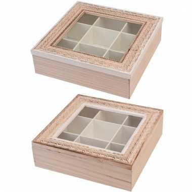 Teabox vierkant hout met witte rand 24 cm