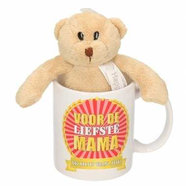 Voor de liefste mama koffiemok met knuffeltje voor moederdag