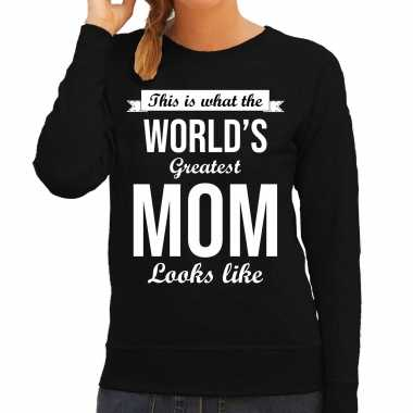 Worlds greatest mom cadeau sweater zwart voor dames