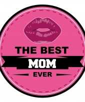 15x stuks moederdag bierviltjes the best mom ever onderzetters roze