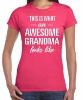 Awesome grandma oma cadeau t shirt roze dames