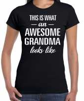 Awesome grandma oma cadeau t shirt zwart dames