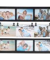 Multi zwarte fotolijst 9 fotos 48 x 38 cm