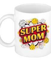 Super mom cadeau mok beker wit pop art stijl 300 ml