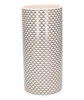 Witte vaas met schubben print 28 cm