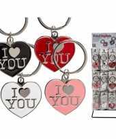 Zwarte hartjes sleutelhanger i love you